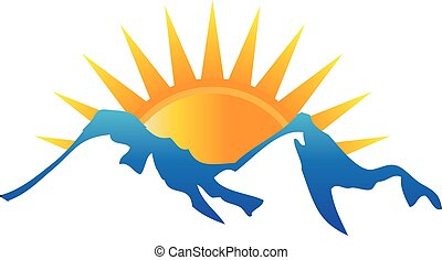 logo, zonneschijn, bergen