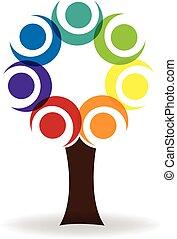 logo, związany, drzewo, ludzie