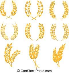 logos, éléments, blé, couronnes, seigle, étiquettes, bière, vecteur, oreilles, pain