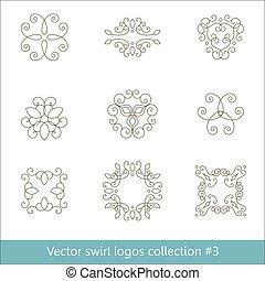 logos, éléments, floral, collection., ligne., mince, tourbillon, design.
