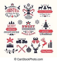 logos, éléments, hiver, texte, année, neige, labels., noël, vecteur, divers, vendange, endroit, vacances, nouveau, ton, insignes