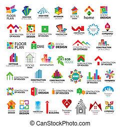 logos, вектор, коллекция, улучшение, строительство, главная
