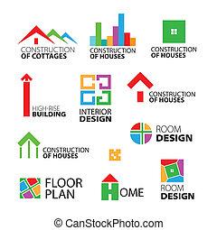 logos, вектор, ремонт, коллекция, houses, строительство