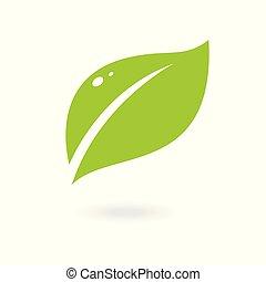 logos., シンボル, 要素, bio, 抽象的, バックグラウンド。, ベクトル, icon., 葉, 緑の白, eco, 隔離された
