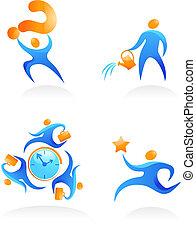 logos, 12, folk, abstrakt, -, samling