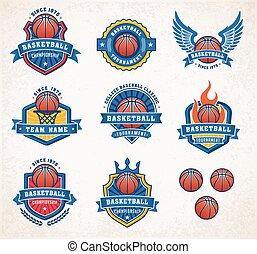 logos, 2, vettore, pallacanestro
