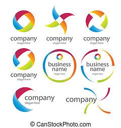 logos, abstrakt, omkring, farvet