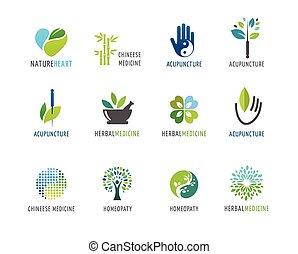 logos, alternativa, concetto, cinese, wellness, yoga, -, vettore, icone, medicina, meditazione, zen