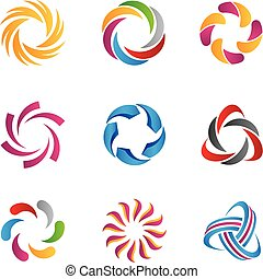 logos, astratto, cappio, sagoma, icone