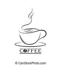 logos, bannières, contour, tasse, autocollants, lettrage, café, autocollants, hand-drawn