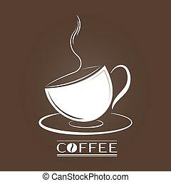 logos, bannières, silhouette, tasse, autocollants, vecteur, café, autocollants, hand-drawn, inscription.