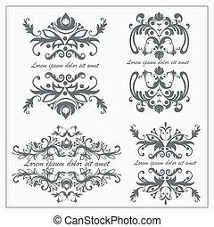 logos, barock, satz, verzierung