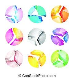 logos, barwny, komplet, abstrakcyjny, shapes., razem, jasny, wektor, kładzenie, cyfrowy, techniczny, świat, geometryczny, technologia, logo, progress.