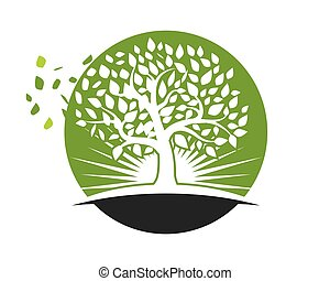 logos, blad, natuur, boompje, element, vector, pictogram