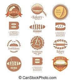 logos, boulangerie, vecteur, collection