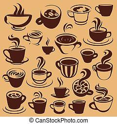 logos, café, éléments, ou
