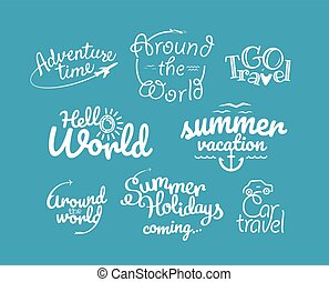 logos, clipart, icone, collection., viaggiare, vettore, avventura