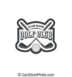 logos, club, golf, étiquettes, emblèmes, vendange