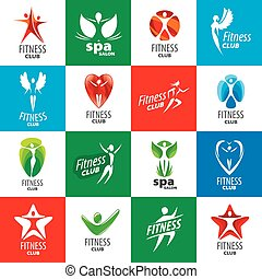 logos, collection, clubs, vecteur, fitness, plus grand