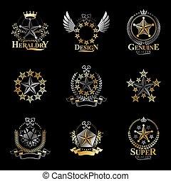 logos, collection., vendange, set., emblèmes, pentagonal, bras, vecteur, étoiles, manteau, héraldique