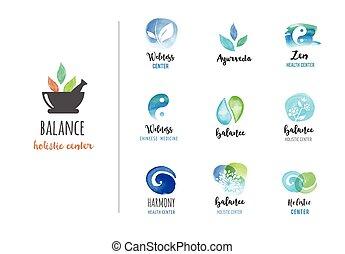 logos, concetto, wellness, zen, -, acquarello, vettore, icone, yoga, medicina, alternativa, meditazione