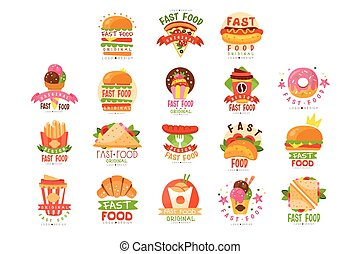logos, dog, ijs, pizza, koffie, voedingsmiddelen, drank, vasten, taco, set, warme, vector, puntzak, donut, hamburger, illustraties, menu, broodje, room