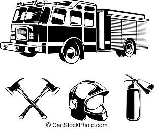 logos, elementi, pompieri, etichette, vettore, o