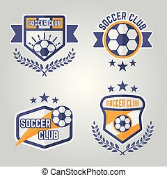 logos, emblèmes, isolé, 3, vecteur, partie, football, ou