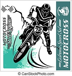 logos, emblema, -, vettore, motocross, cavaliere