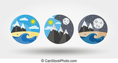 logos, ensemble, camping., nature, vacances, icônes
