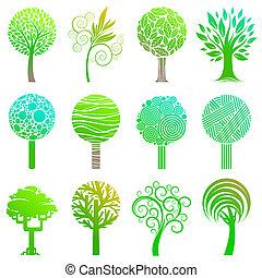 logos, ensemble, emblème, &, arbres, vecrot