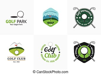 logos, ensemble, golf, couleur, vendange, championnat, insignes