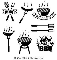 logos, ensemble, icônes, barbecue, étiquette