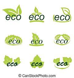 logos, ensemble, icônes, feuilles, écologie, vert, ou