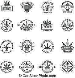 logos, ensemble, logos., monde médical, étiquettes, marijuana, cannabis, insignes