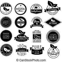 logos, ensemble, naturel, sain, vendange, retro