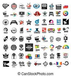 logos, ensemble, photo, grand, production, vecteur, vidéo