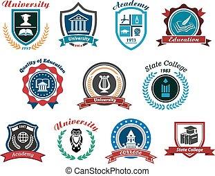 logos, ensemble, université, académie, emblèmes, collège, ou
