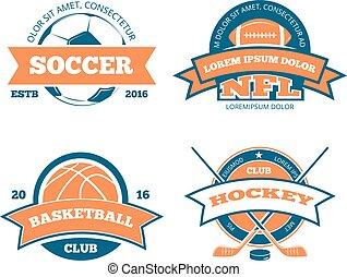 logos, etichette, football, sport, americano, vettore, hockey, squadra, pallacanestro, emblemi, calcio, tesserati magnetici