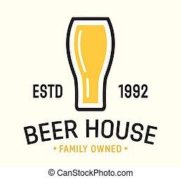 logos, fabbrica birra, vettore, birra, mestiere