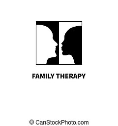 Logos family psychotherapy. Silhouettes of faces man and...