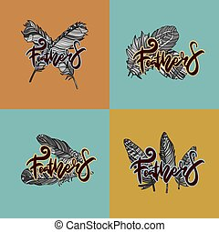 logos, feathers., ontwerp