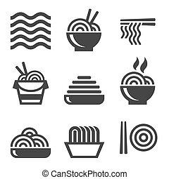 logos, fettucina, eccetto cibo, set., icons., vettore, asiatico