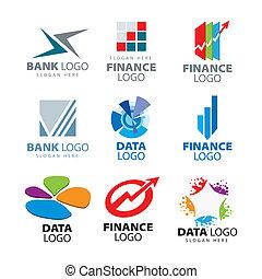 logos, finanza, ditte, collezione, vettore, banche