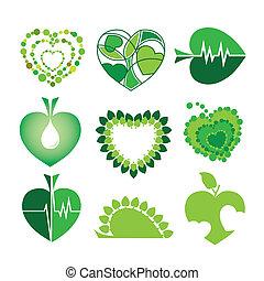 logos, form, blätter, sammlung, umwelt, vektor, gesundheit, herzen