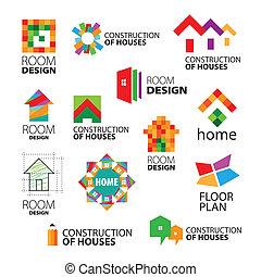 logos, gebouwen, vector, herstelling, verzameling, bouwsector