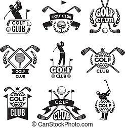 logos, golf, images, isolé, club., monochrome, blanc, ou, insignes