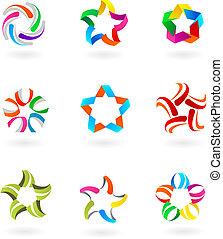logos, ikony, abstrakcyjny, -, zbiór, 3
