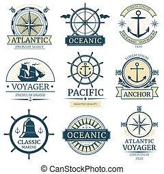 logos, insignes, étiquettes, emblèmes, vecteur, retro, nautique