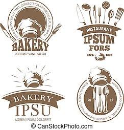 logos, insignes, menu restaurant, étiquettes, vecteur, emblèmes, conception